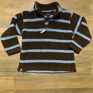 Mini Boden Brown Blue Stripe 1/4 Zip Pullover 7 8